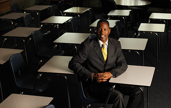DIRK SHADD   |  Times  SP_341047_SHAD_NAYGORDON_01 (07/11/11 ST. PETE) Kevin Gordon, Gibbs High School Principal, pictured in a classroom at Gibbs High at 850 34th Street South in St. Petersburg MOnday afternoon (07/11/11). Gibbs has moved from F to C and has shown other signs of heading in the right direction. [DIRK SHADD, Times]
