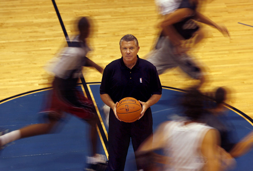 NBA Referee Bob Delaney on the court where he teaches aspiring referees at his school at IMG Academies in Bradenton. Delaney was an undercover New Jersey police cop who infiltrated the mob and was responsible for putting away a number of criminals.