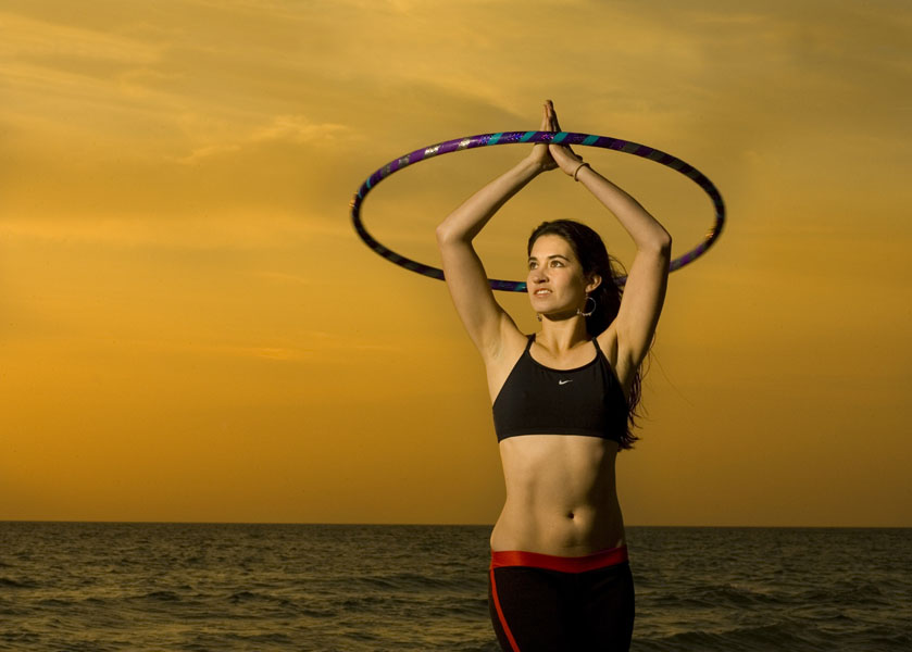 Christin Taylor, 26, a hoop dancer with Hoola Monsters, uses her hoop to help stay fit.