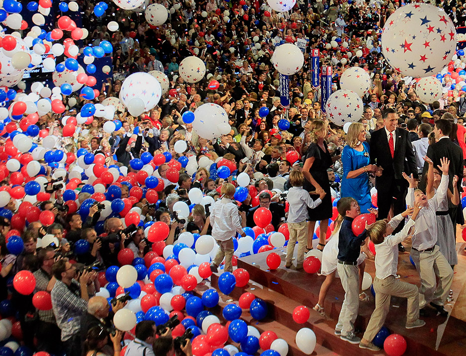 TP_359014_SHAD_RNC_FORUM_99 DIRK SHADD    Times  (TAMPA, August 30, 2012)  Balloons blanket the stage as Republican presidential candidate Mitt Romney and his wife Ann Romney greet family on stage along with Vice presidential candidate Paul Ryan and his family at the end of the 2012 Republican National Convention at the Tampa Bay Times Forum in Tampa on Thursday (08/30/12). RNC [DIRK SHADD, Times]