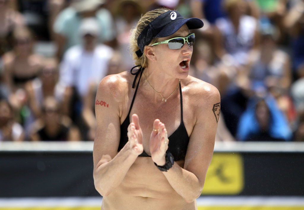 Kerri Walsh Jennings celebrates while scoring a point with her partner April Ross during the final day at the St. Pete Open, AVP Beach Volleyball tournament at Spa Beach Park Sunday afternoon (06/01/14). Jennings and Ross defeated Lauren Fendrick and Brook Sweat in three sets to win the championship.