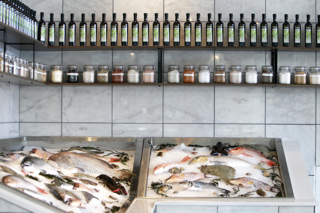DIRK SHADD   |   Times   A display of fresh fish visible in the entrance at Sea Salt, Restaurant Oyster Bar Lounge, in the Sundial which opened Monday afternoon in St. Petersburg.  Sea Salt is a 12,000-square-feet, 300 seats, fancy Italian-inflected seafood.