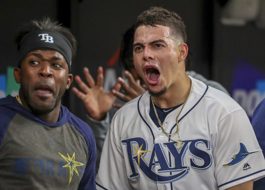 Tampa Bay Rays shortstop Willy Adames (1) celebrates his solo homer in the fourth inning against the Houston Astros in Game 4 of the American League Division Series Tuesday, Oct. 8, 2019 in St. Petersburg.