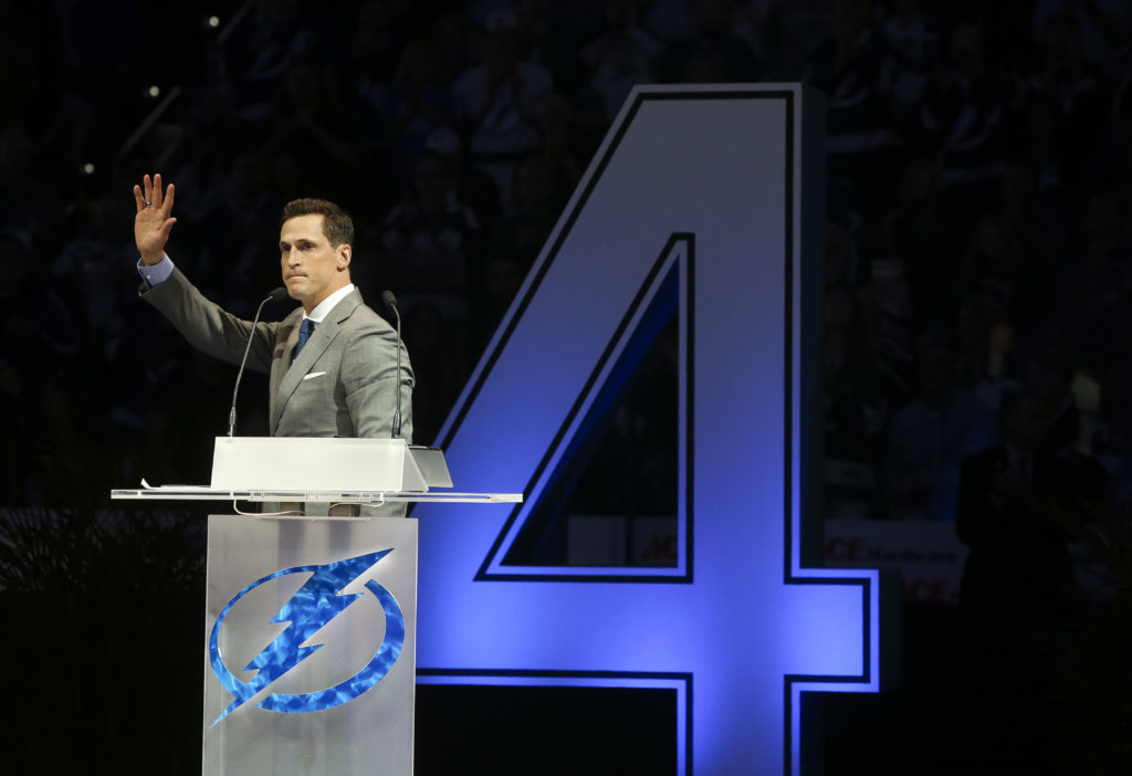 DIRK SHADD   |   Times   Former Tampa Bay Lightning captain Vinny Lecavalier addresses the audience during his jersey No. 4 retirement ceremony before the Bolts host the Los Angeles Kings at Amalie Arena in Tampa Saturday evening (02/10/18).