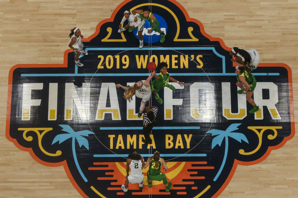 NCAA Women's Final Four begins at Amalie Arena  The opening tip off as the NCAA Women's Final Four begins at Amalie Arena with the Oregon Ducks and Baylor Lady Bears for the semi-final game Friday, April 5, 2019 in Tampa.