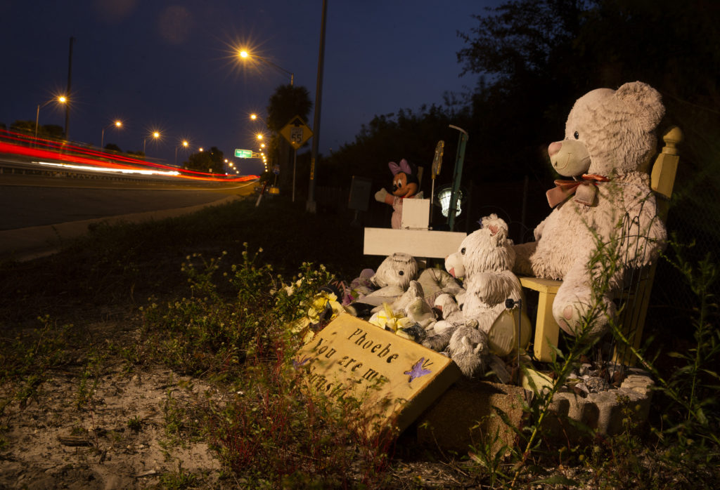 Memorial for Phoebe JonchuckThe road side memorial for Phoebe at the foot of the Dick Misner bridge looking south towards the Sunshine Skyway bridge from the Pinellas County side in St. Petersburg on Wednesday evening, March 13, 2019. John Jonchuck, 29, was charged with first-degree murder in the 2015 death of his 5-year-old daughter, Phoebe Jonchuck. He is accused of dropping her 62 feet from the Dick Misener Bridge on Jan. 8, 2015. Four years later, a jury ruled John Jonchuck guilty of first-degree murder and should spend the rest of his life in prison.