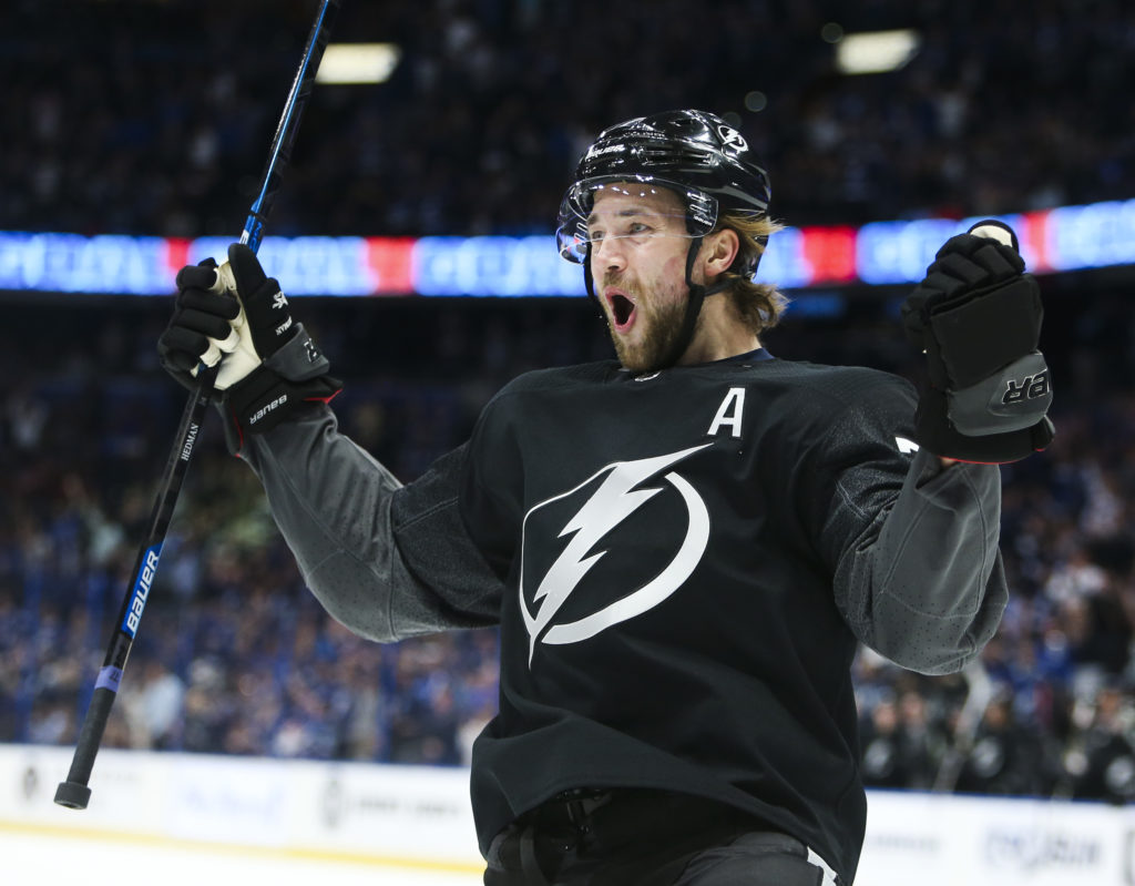 DIRK SHADD   |   Times   Tampa Bay Lightning defenseman Victor Hedman (77) celebrates his goal after beating Ottawa Senators goaltender Craig Anderson (41) for the first goal of the game during first period action at Amalie Arena in Tampa on Saturday, March 2, 2019.