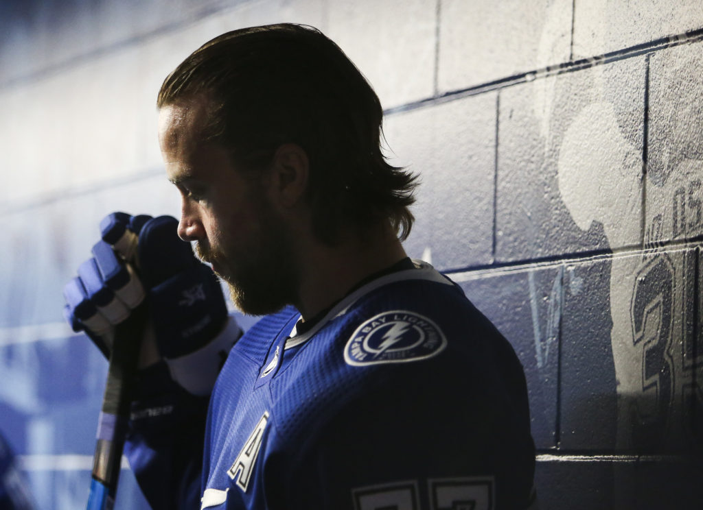 DIRK SHADD   |   Times   Tampa Bay Lightning defenseman Victor Hedman (77) prepares to head down the tunnel for warm ups before taking on the Arizona Coyotes during first period action at Amalie Arena in Tampa, Monday evening, March 18, 2019.